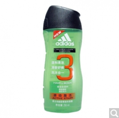 阿迪达斯adidas男士功能型香波沐浴露 (洗发沐浴二合一) 源动激活250ml