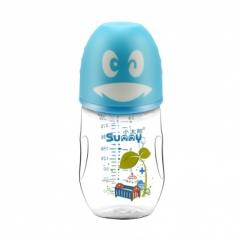 小太阳 宽口径 可爱企鹅玻璃奶瓶260ml
