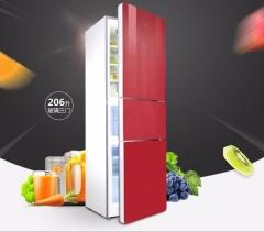 TCL BCD-206TBF1 三门冰箱 家用三开门 玻璃/冷藏冷冻 节能静音